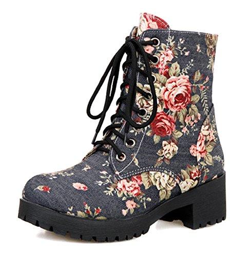 ye-damen-chunky-heel-plateau-blumen-denim-canvas-schnurstiefeletten-short-ankle-boots-herbst-winter-