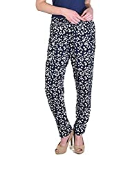 NAVY FLORAL STRAIGHT TROUSERS
