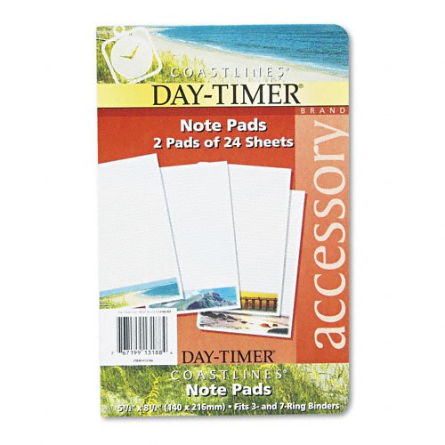 Day-Timer Products - Day-Timer - Coastlines Notepads w/Four Designs, 5-1/2 x 8-1/2, Two 24-Sheet Pads - Sold As 1 Each - Enjoy a visual vacation with Coastlines page designs. - Rich full-color photo across the bottom of the page doesn't interfere with you