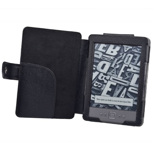 TeckNet® NEW Kindle Premium Folio Case / Cover With Magnetic Clasp for NEW Amazon Kindle / 6 inch / 2011 generation / Book Style - Includes Kindle Rear Protector - Black