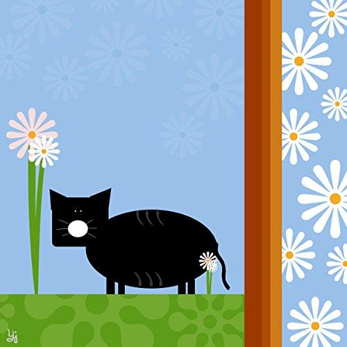 Green Leaf Art Geo Cat Canvas Art