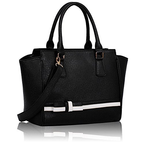 Ladies Black White Handbag Bow Tie Long Strap Shoulder Bag Kcmode