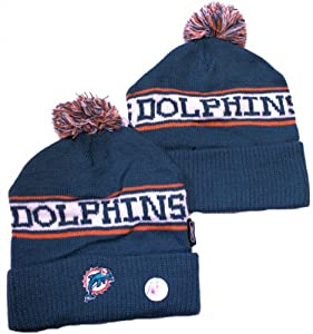NFL Officially Licensed Miami Dolphins Cuffed Embroidered Pom Logo YOUTH Beanie by Reebok