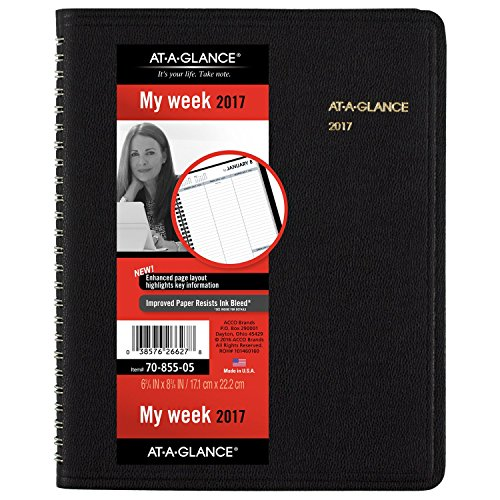 AT-A-GLANCE Weekly Planner / Appointment Book 2017, Open Scheduling, 6-3/4 x 8-3/4