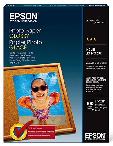 Epson Photo Paper GLOSSY (8.5×11 Inches, 100 Sheets) (S041271)