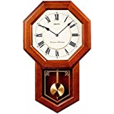 Seiko Brown Oak Schoolhouse Wall Clock - 12.75 Inches Wide