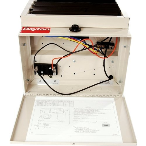 Dayton 3ug73 garage heater with builtin thermostat on