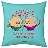 Valentine Gifts for Boyfriend Girlfriend Fiance Spouse Blue 12X12 Printed Filled Cushion Love is Growing Old with You Gift for Him Her Birthday Anniversary Everyday