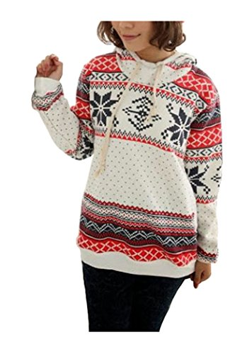 CA Fashion Women's Snowflake Geometric Print Cartoon Hoodie Outwear Sweatshirt