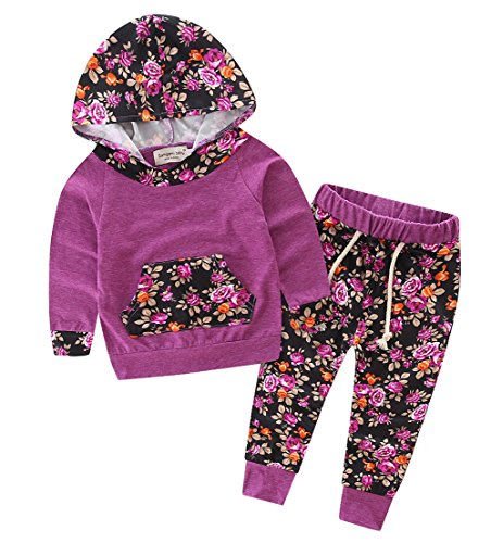 Baby Girls Floral Hoodie+ Floral Pant Set Leggings 2 Piece Outfits (12-18Months, Purple-red) (Fleece Baby Pants compare prices)