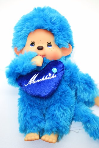 "Sekiguchi Authentic Limited Edition Monchhichi "" LOVE LOVE"" BLUE Doll 8"" (20 cm) . FREE US SHIPPING. - 1"