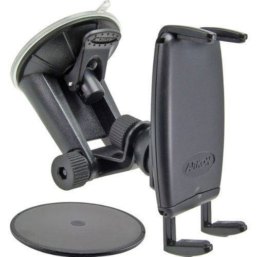 i.Trek Windshield Suction Cup Mount with 80mm Dashboard Console Adhesive Disk (Black)