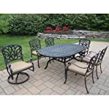 Oakland Living Hampton 7-Piece 72 by 42-Inch Oval Dining Set with Cushions