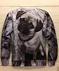 Demarkt Lovely Dog Pattern Sweatshirt Hoodies Casual Blouse Long Sleeves Pullover