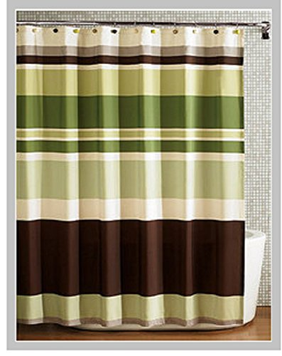 Fabric Shower Curtain,multi-color Printed Striped Green Coffee (Green Shower Curtain compare prices)