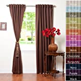 "Solid Thermal Insulated Blackout Curtain 95""L- 1 Set-CHOCOLATE"