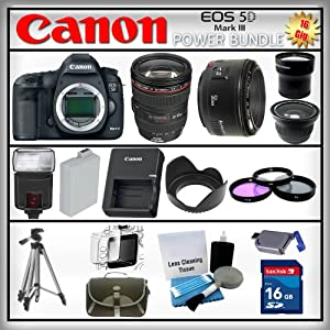 Canon 5D Mark III EOS 22.3MP - Canon EF 24-105 IS USM - Canon EF 50mm f/1.8 - 16GB SDHC - USB Card Reader - 1 Spare Battery - Digital Flash - 3 Piece Lens Filter Kit - 53