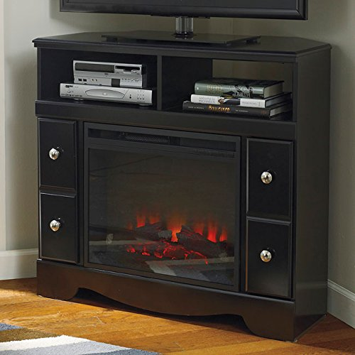 Shay Black Corner Tv Stand/Fireplace Opt
