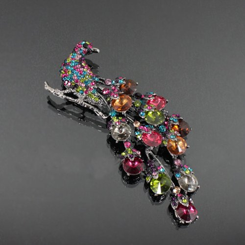 Crystal Studded Peacock Fashion Brooch Mb1049-bc205