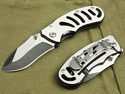 All Silver Full Tang Pocket Folding Skinner Knife 768-5.19''