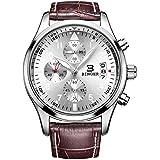 BINGER Mens Fashion Business Casual Multifunction Quartz Wrist Watch Leather Band - Brown