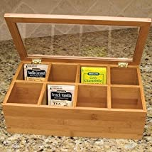 Lipper Divided Bamboo Tea Box with Clear Lid