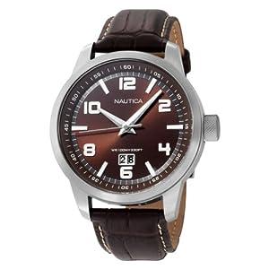 Nautica N13552G - Reloj de pulsera hombre, piel, color marrón