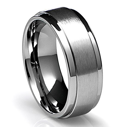 8MM Men's Titanium Ring Wedding Band with Flat Brushed Top and Polished Finish Edges [Size 11]