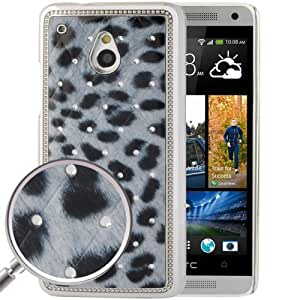Grey Leopard Pattern Diamond Encrusted Skin Plating Plastic Case for HTC One mini / M4