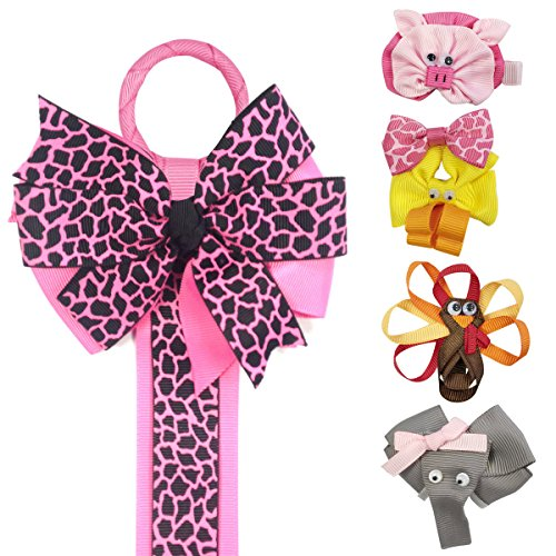 Ribbon Sculpture Hair Clips With Leopard Hair Clip Holder, Hot Pink