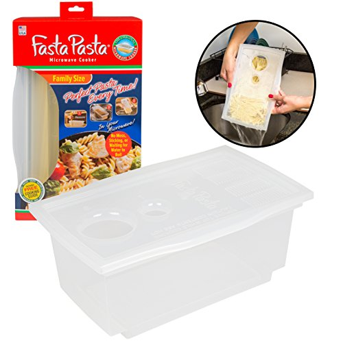 Microwave Pasta Cooker- The Original Fasta Pasta Family Size- Cooks up to 8 Servings of Pasta- No Mess, Sticking, or Waiting for Water to Boil (Microwave Pasta Cooker compare prices)