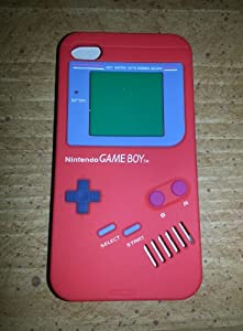 Nintendo Game Boy Gameboy Silicone Case Cover For iPhone 4 RED