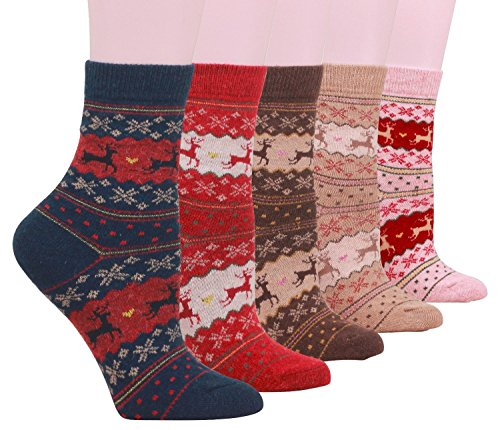 Super Thick Merino Ragg Knit Warm Wool Crew Socks,Christmas Deer
