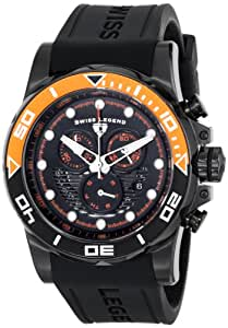 "Swiss Legend Men's 21368-BB-01-ORAB ""Avalanche"" Stainless Steel Watch with Black Silicone Band"