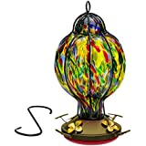 HUMMINGBIRD FEEDER with Perch --- Hand-Blown Glass Feeders | Tiffany Treat | (by Best Home Products)