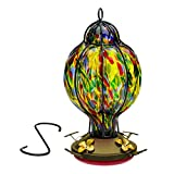 Best Home Products Blown Glass Hummingbird Feeder, Tiffany Treat, Multi-Color