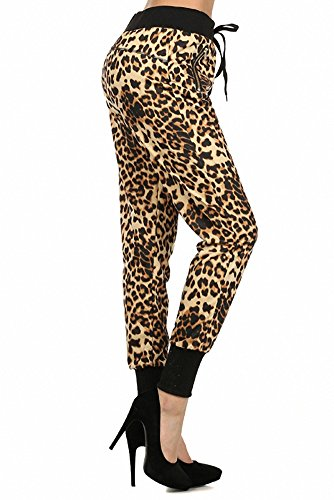 Sassy Apparel Women's Exotic Leopard Pattern Jogger Sweat Pants with Drawstring