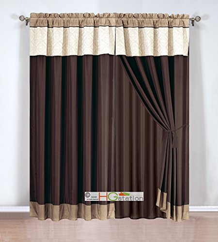 4-Pc Quilted Tile Diamond Square Curtain Set Valance Drape Liner Tieback Beige Brown Coffee