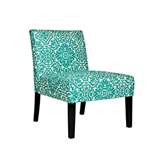 Angelo home bradstreet modern damask turquoise blue upholstered armless chair - Turquoise upholstered dining chair ...