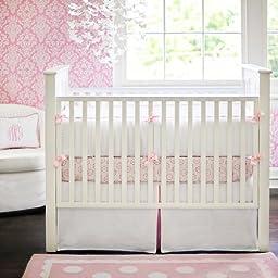 New Arrivals White Pique Crib Skirt, Pink Trim