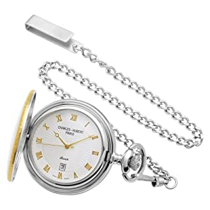 charles-hubert paris sterling silver two-tone pocket watch