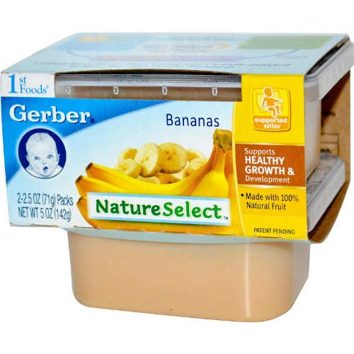 Gerber NatureSelect 1st Foods Fruits Bananas -2 Containers,2.5 oz (71 g) Each