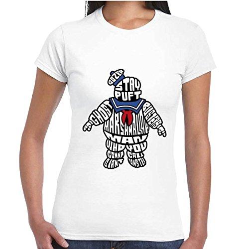 T-Shirt Donna Maglia Film Ghostbusters Acchiappafantasmi Con Stampa Stay Puft, Colore: Bianco, Taglia: L