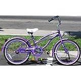 """20"""" Beach Cruiser Bicycle Micargi Jetta Girls Kids Children Bike Purple"""