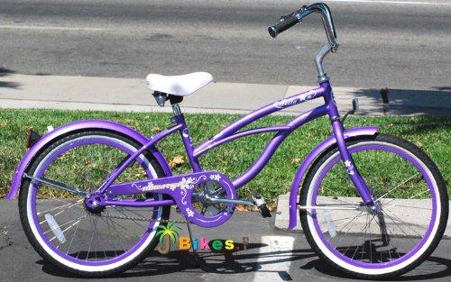 """20"""" Beach Cruiser Bicycle Micargi Jetta Girls Kids Children Bike Purple front-25186"""