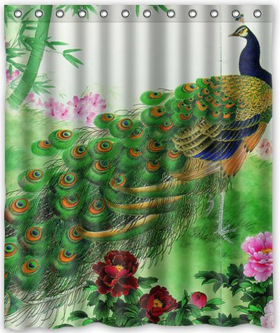 Outlet-Seller Custom Amazing Charming Peacock Waterproof Bathroom Fabric Shower Curtain 60