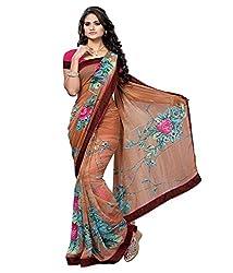 Pushkar Sarees Chiffon Saree (Pushkar Sarees_15_Brown)