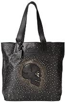 FRYE Skull Stud Tote Handbag,Black,One Size