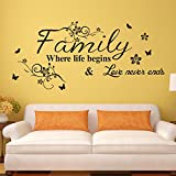 E-Love Warm and Sweety Family Love Removable Mural Wall Stickers Wall Decal for Living Room Home Decor