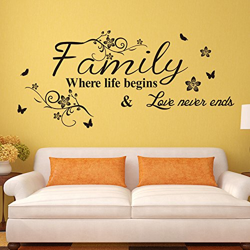 EMIRACLEZE Christmas Gift Holiday Shopping Warm and Sweety Family Love Removable Mural Wall Stickers Wall Decal for Living Room Home Decor